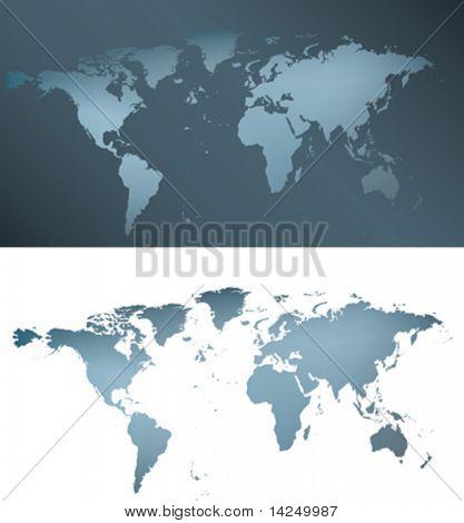 ilustração de um mapa-múndi de prata cinza e azul