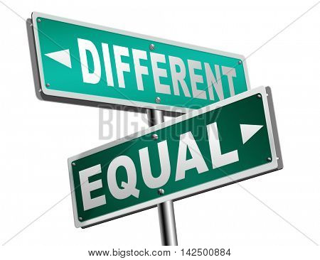 equal or different equality in rights and opportunity for all no discrimination or racism embrace diversity 3D illustration