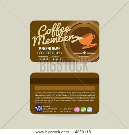 Front And Back Coffee Voucher Of Member Card Template Vector Illustration. EPS 10