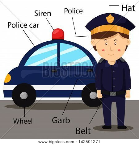 Illustrator of police and car for education