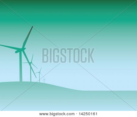 Illustration of  a blue and green wind turbine backdrop