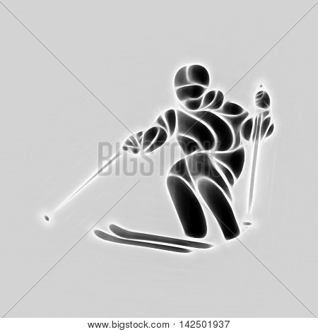 Ski downhill. Creative silhouette of the skier. Giant Slalom Ski Racer.  illustration