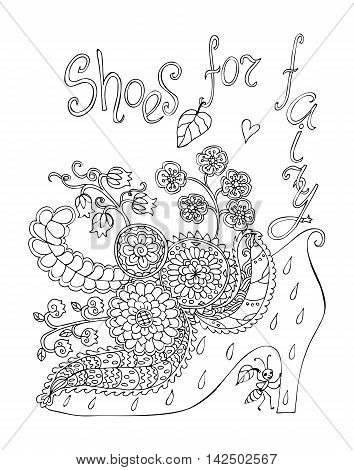 Shoes for fairy with beautiful flowers. Coloring book. Black and white doodle vector illustration.