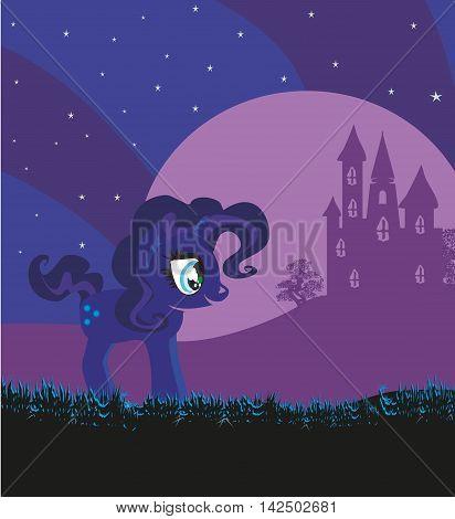 Fairytale landscape with magic castle and unicorn , vector illustration