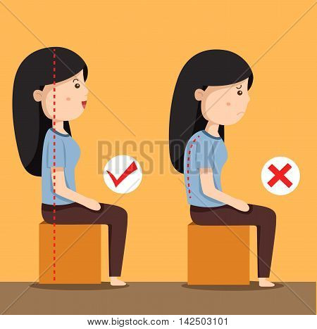 Illustrator of women sitting position for individuals