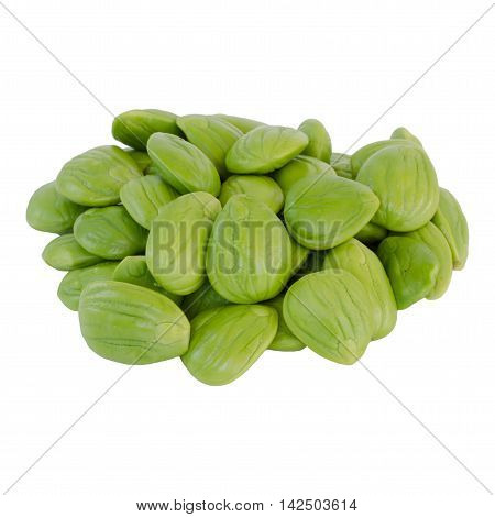 Parkia speciosa beans isolated on white background