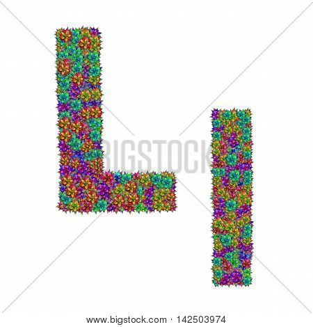 letter L made from bromeliad flowers isolated on white background with clipping path