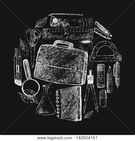 Vector illustration back to school. Hand drawing white chalk on black background. Briefcase pen pencil eraser glass lamps notebooks scissors protractor glue dividers ruler autumn leaves.