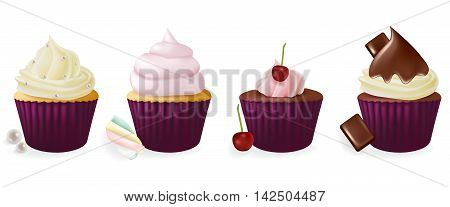 Different flavors isolated set of cupcakes on white background.