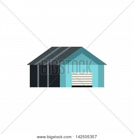 Garage with automatic gate icon in flat style isolated on white background. Building symbol
