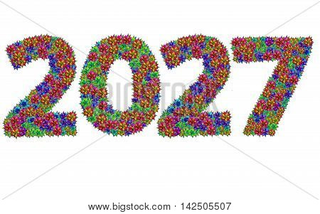 New year 2027 made from bromeliad flowers isolated on white background with clipping path
