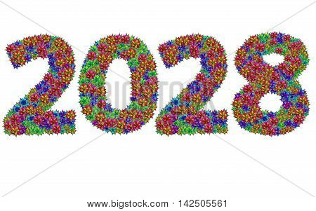 New year 2028 made from bromeliad flowers isolated on white background with clipping path