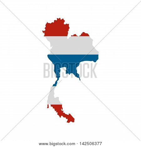 Map of Thailand icon in flat style isolated on white background. State symbol