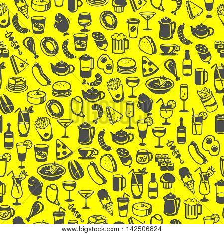 icons of different food and drinks vector
