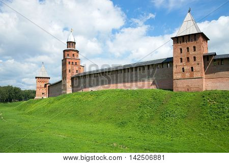 Three medieval towers of the Novgorod Kremlin in sunny day in july. Veliky Novgorod Russia