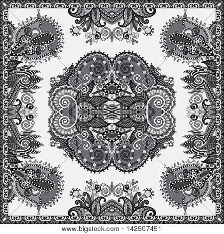black and white authentic silk neck scarf or kerchief square pattern design in ukrainian style for print on fabric, vector illustration