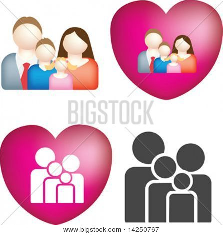 A set of 4 simple and bold vector family icons
