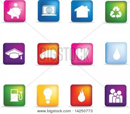 Vector icon set of detailed 3d home icons coloured buttons