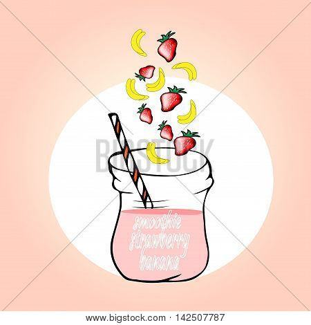 healthy fruit smoothies in Doodle style. Fresh juice for healthy life. n