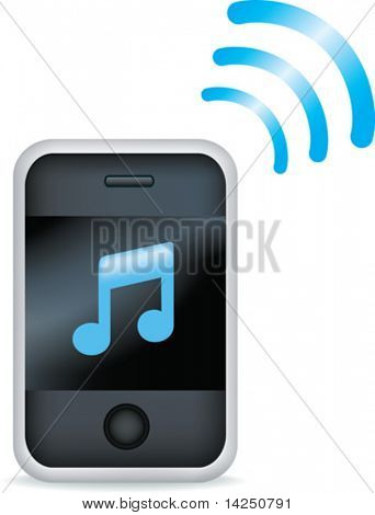 Vector illustration of a mp3 mobile phone