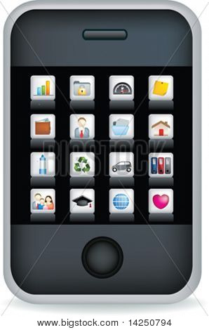 Vector illustration of a touch screen mobile phone with icons
