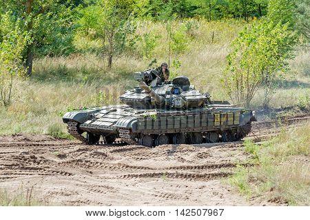 Kharkiv Ukraine - August 12 2016: Main battle tank at a firing range
