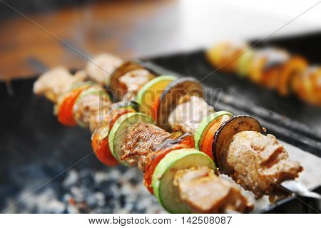 Fresh barbecue on fire, closeup