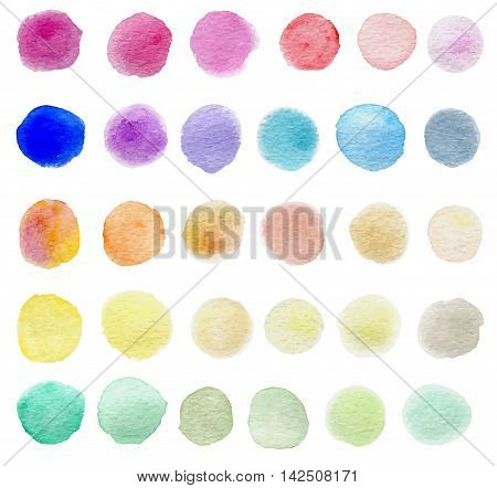 Set of abstract round vector watercolor blots for design