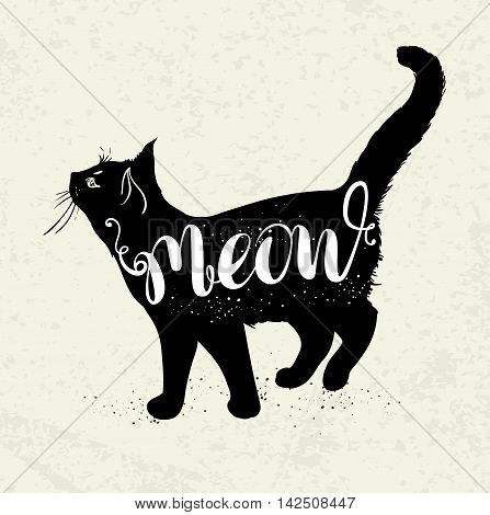 Background with black cat and lettering