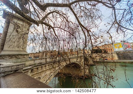 View of the Tiber River and Bridge in Rome
