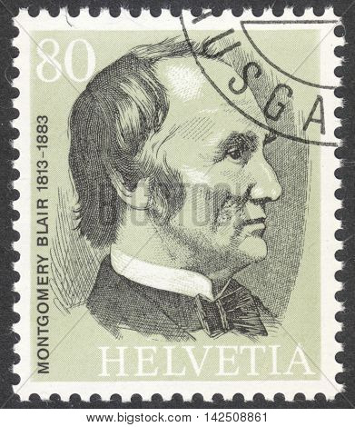 MOSCOW RUSSIA - CIRCA APRIL 2016: a post stamp printed in SWITZERLAND shows a portrait of Montgomery Blair the series