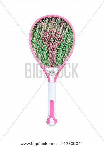 Battery mosquito swatter. Isolated on white background with copy space