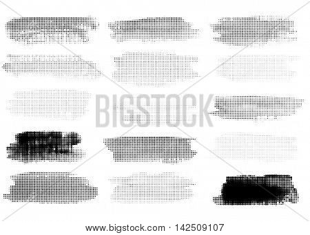 Set of Vintage Abstract Halftone Backgrounds. Vector Illustration. Radial and Linear Halftone.