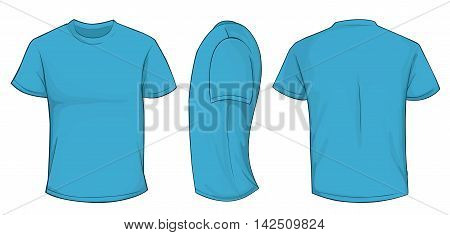 Vector illustration of blank navy blue men t-shirt template front side and back design isolated on white