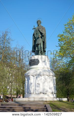 PSKOV, RUSSIA - MAY 07, 2016: Monument to princess Olga and prince Vladimir, may sunny day. Historical landmark of the city Pskov, Russia