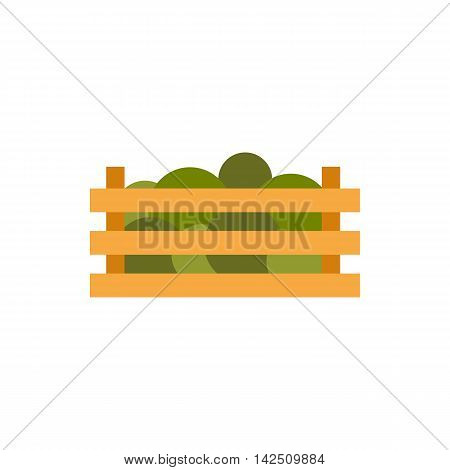 Wooden crate with vegetables icon in flat style isolated on white background. Food symbol