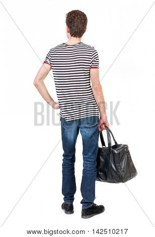 Back view of man with  with a bag. Rear view people collection.  backside view of person.  Isolated over white background. Curly boy in a striped vest holding bag holding her hands on her waist.