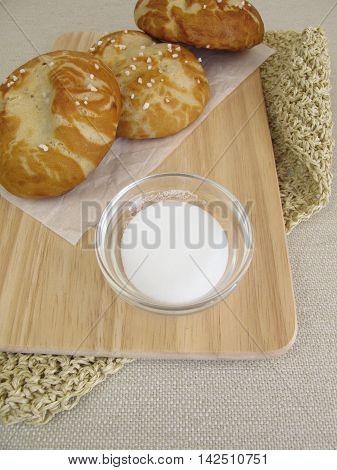 Homemade lye rolls and baking soda for lye solution