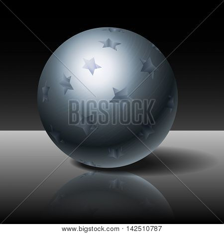 Metal sphere with stars on a dark background, vector