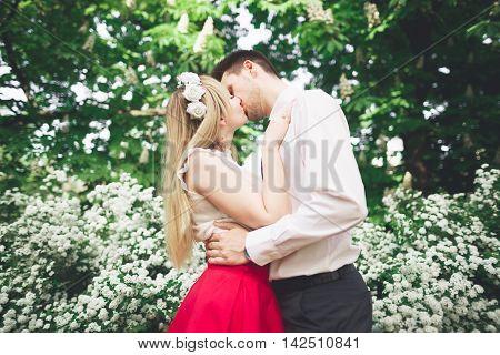 Stylish beautiful happy wedding couple kissing and embracing in Botanical Garden.