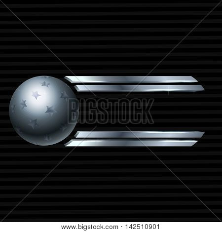 Metal sphere with stars on a dark background