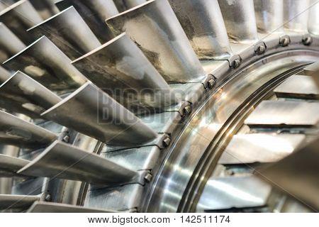 Turbine Blades Closeup. Shallow Depth Of Field.