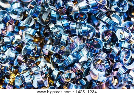 Blue Metal Shavings. Industrial Abstract Background.