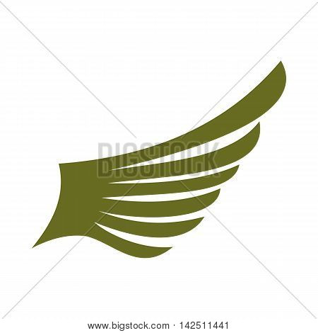 Green wing bird icon in flat style isolated on white background. Flying symbol