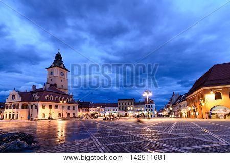 Brasov, Romania - February 23: The Council Square On February 23, 2016 In Brasov, Romania. Panoramic