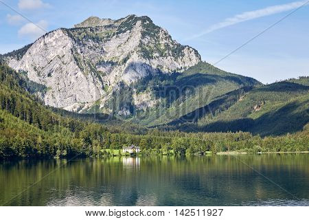 Lake And Mountains At The Vorderer Langbathsee In Salzkammergut, Austria