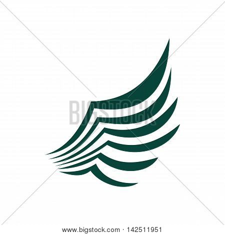 Green birds wing with feathers icon in flat style isolated on white background. Flying symbol