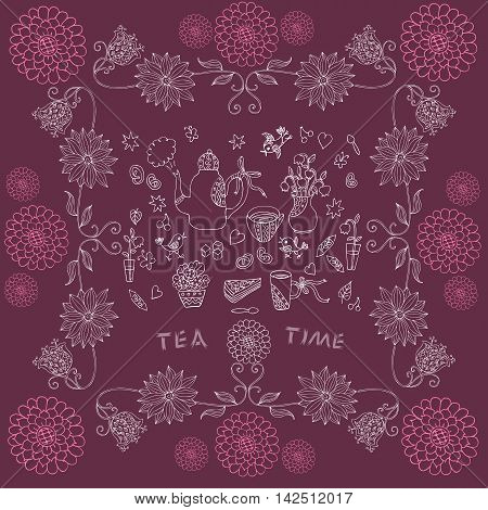 Tea time - beautiful tablecloth. Vector illustration.