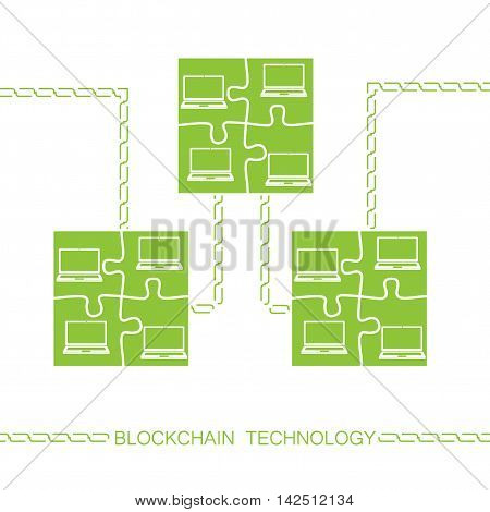 Blockchain technology concept. Laptops forming jigsaw puzzle block connected by chain. Vector illustration of distributed database for web security cryptography virtual money secure e-business.
