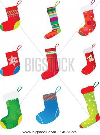 set of christmas stocking on white background